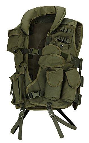 Einsatzweste mit 12 praktischen Taschen und gepolstertem Schulter- und Kragenbereich Oliv OneSize