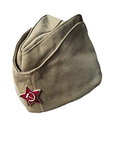 Ganwear Original Russische UdSSR-Armee-Kappe, Militär/Uniform/Pilotka/Hut, Logo roter Stern
