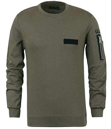 ililily Solid Color US ARMY Embroidery Slim Fit Sweatshirt Pullover Jumper Top (tshirts-367-1-L)