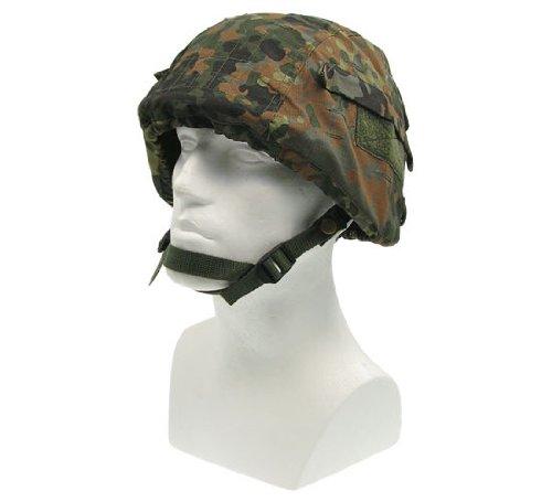 Mil-Tec Helmbezug, mit diversen Fächern für Ausrüstung sowie Klettstreifen – flecktarn