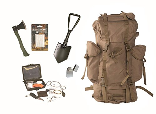 Survival Set BW Bundeswehr coyote Kampfrucksack + Spaten + Beil + Survival Box usw.