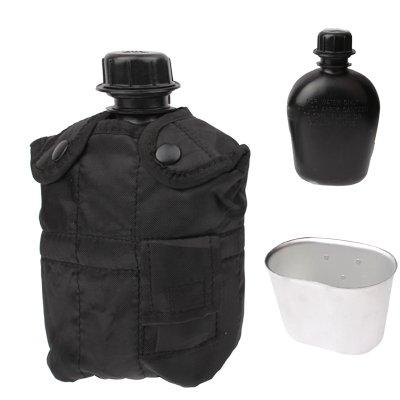 3-in-1 1L Feldflasche / Wasserflasche im Army Design US Armee-Militär Trinkenflasche mit Becher (Kantine) und schwarzer Nylon-Tragetasche & schwarze Flasche