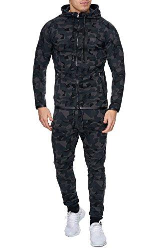 Herren Camouflage Army Jogginganzug Jogging Hose Jacke Sportanzug Military Schwarz S