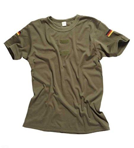 Bundeswehr Tropen T-Shirt mit Deutschlandfahnen und Klettstreifen in, schwarz, oliv und coyote 6,Oliv