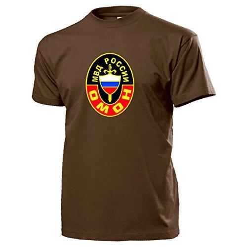 OMOH TYP1 OMON Russische Polizei Spezial Einheit Rusland Wapppen Abzeichen Emblem Innenministerium Miliz Otrjad Milizii Osobogo Nasnatschenija – T Shirt Herren braun#14605