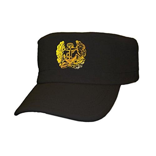 deutsche Marine Eichenlaub Anker Bundeswehr Bund Bw Deutschland – Cap Kappe Baseballcap Kopfbedeckung (kahki 5,5cm x 5,5cm) #12358