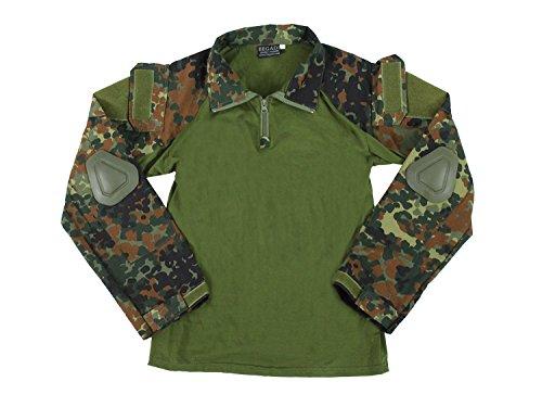BEGADI Basics Combat Shirt, mit elastischem Torso, 2 Armtaschen & Protektoren – flecktarn