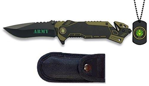 Armeemesser, Army, mit Erkennungsmarke aus Metall und Etui