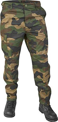 Lange Jagdhose Jägerhose aus robustem Baumwollmischgewebe in verschiedenen Farben Farbe Woodland Größe L