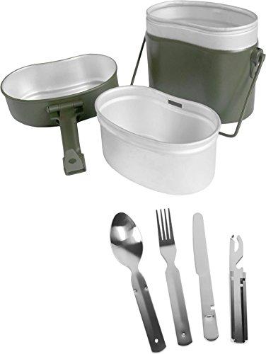 Bundeswehr Essgeschirrset BUND Essbesteck + BW Aluminium Kochgeschirr Farbe Oliv