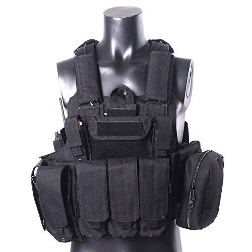 YAKEDA® Molle Combat Tactical Weste Arms Getriebe Tactical Stealth Black Carrier Military Jagd Weste mit MOLLE Web Modular System mit enthalten 7 Modular Beutel-VT-1026 (Schwarz)