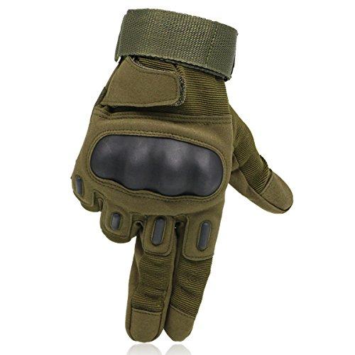 OMGAI Männer voller Finger militärische taktische Handschuhe des harten Knöchel mit Klettverschluss für Airsoft Armee Paintball Motorrad Outdoor Sports Armee Grün L