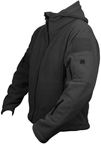 Tactical Herren Military-Cap, US- und British Army Recon Hoodie Fleece Jacke Security Police Smokpartie (L, Schwarz)