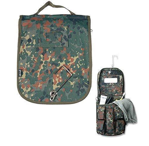 G8DS® Kulturtasche mit Spiegel und praktischem Haken flecktarn geräumig Camping