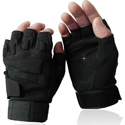 OMGAI Männer Halb Finger Militärische Taktische Handschuhe Von Hard Knuckle für Airsoft Armee Schießsport Paintball Motorrad Outdoor-Sportarten Schwarz XL