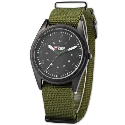 SHARK ARMY Herren Armbanduhr Analog Quarzuhr 12/24 Format Nylon Armband SAW039