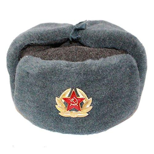 RUSSISCHE FELLMÜTZE WOLLE, SCHAPKA USCHANKA, WINTERMÜTZE MILITÄRMÜTZE DER SOWIETISCHEN ARMEE – Größen verfügbar: 56(M)