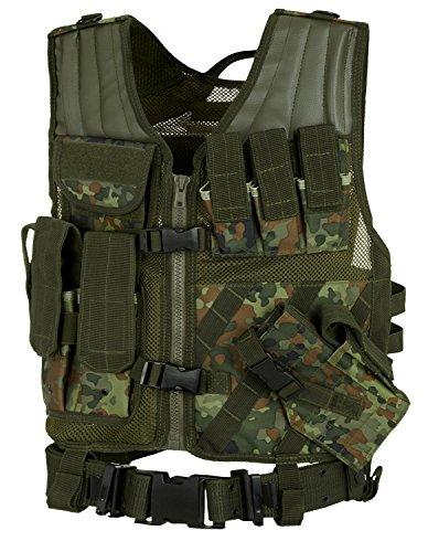 USMC Einsatzweste Tactical Weste mit Koppel – verschiedene Farben zur Auswahl Flecktarn OneSize