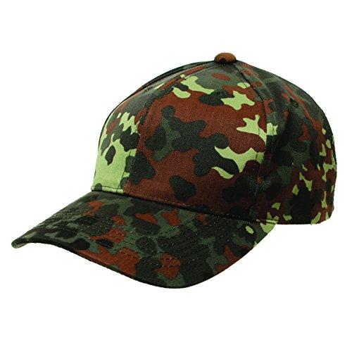 Army Outdoor Baseball Cap aus stabilem RipStop Weitenverstellung mit einem Plastikband Cappie Sportcappie Kappe in One Size verschiedene Farben (Flecktarn)