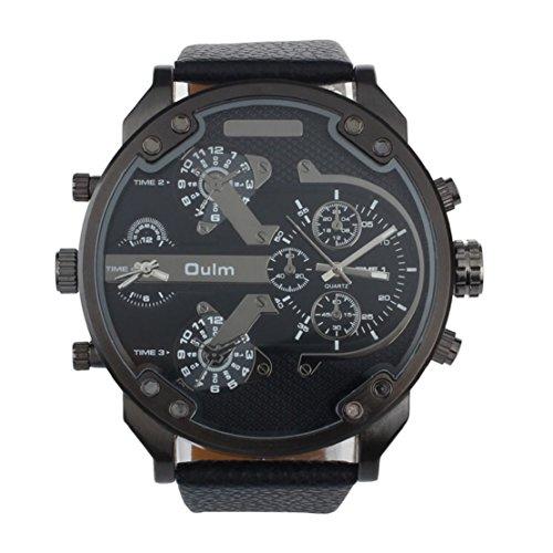 Tonsee Luxus Militär Armee Dual Zeit Quarz große Dial Armbanduhr OULM Schwarz
