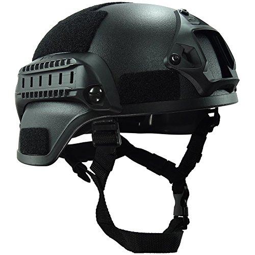 OneTigris MICH 2000 AktionVersion Taktische Helm ABS Helm mit NVG Halterung und seitliche Schienen (Schwarz)