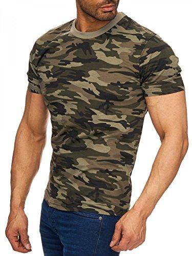 Herren Camouflage Tarn T-Shirt Army H1725 (2 Farben) , Farben:Grün;Größe T-Shirt:XXL