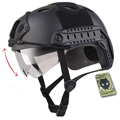 FAST PJ Swat Gefechtshelm, geeignet für CQB / Nahkampf, Softair, Paintball, mit Schutzbrille, nachgebildete Militärausrüstung, Schwarz