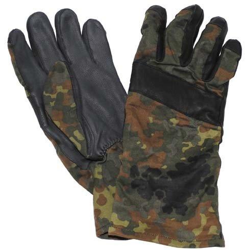 BW Kampfhandschuhe, flecktarn, Lederbesatz, gebr.