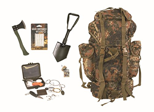 Survival Set BW Bundeswehr flecktarn Kampfrucksack + Spaten + Beil + Survival Box usw.