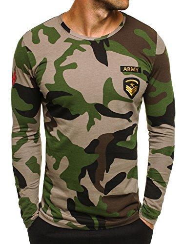 OZONEE Herren Longsleeve Sweatshirt Langarmshirt Camouflage Armee Militärstil ATHLETIC 1086 GRÜN L