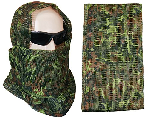 Tactical Camo Pattern Military Netting Scarf – Army Style Scrim Net Patrol Head Wraps with Camouflage Option (Flecktarn)